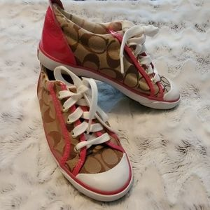 Pink athletic leather Coach Barrett Tennis Shoes